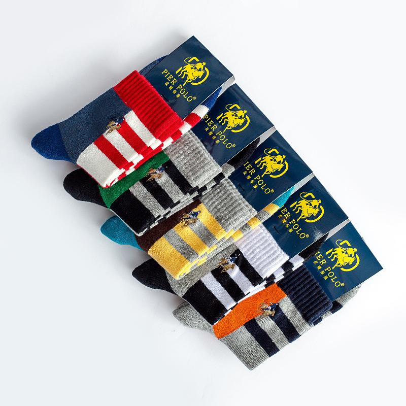 秋冬新款  POLO男士拼色条纹毛圈休闲男袜子