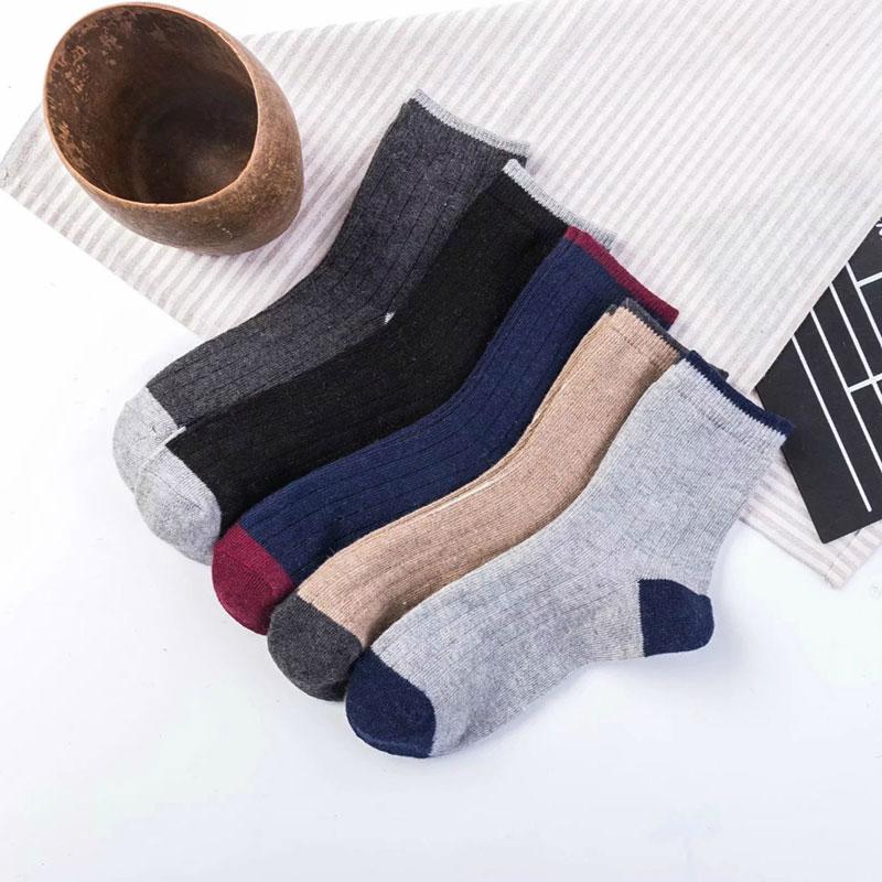 冬季男士 加厚保暖 罗口细条纹 兔羊毛袜子批发