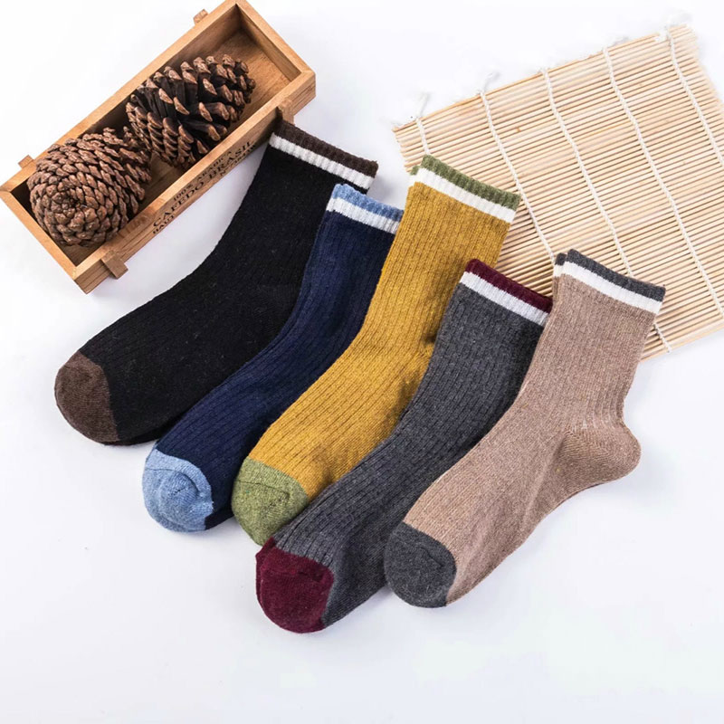 冬季男士 加厚保暖 罗口条纹 兔羊毛袜子批发