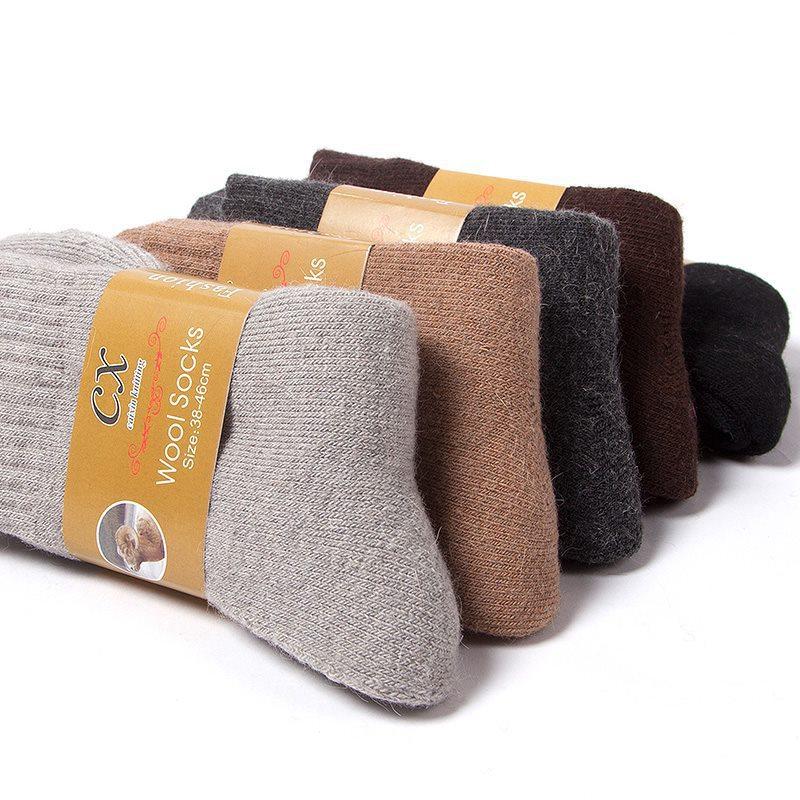 冬季男士 加厚保暖 安哥拉兔羊毛中筒毛圈袜子