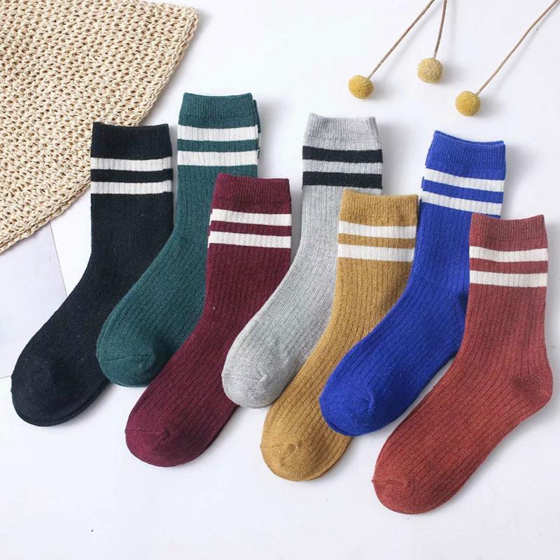 冬季女士 加厚保暖 条纹羊毛袜子堆堆袜批发