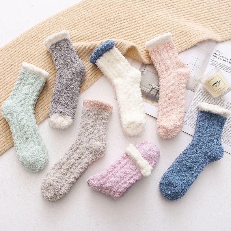 冬季女士 加厚保暖 珊瑚绒家居睡眠袜地板袜子批发