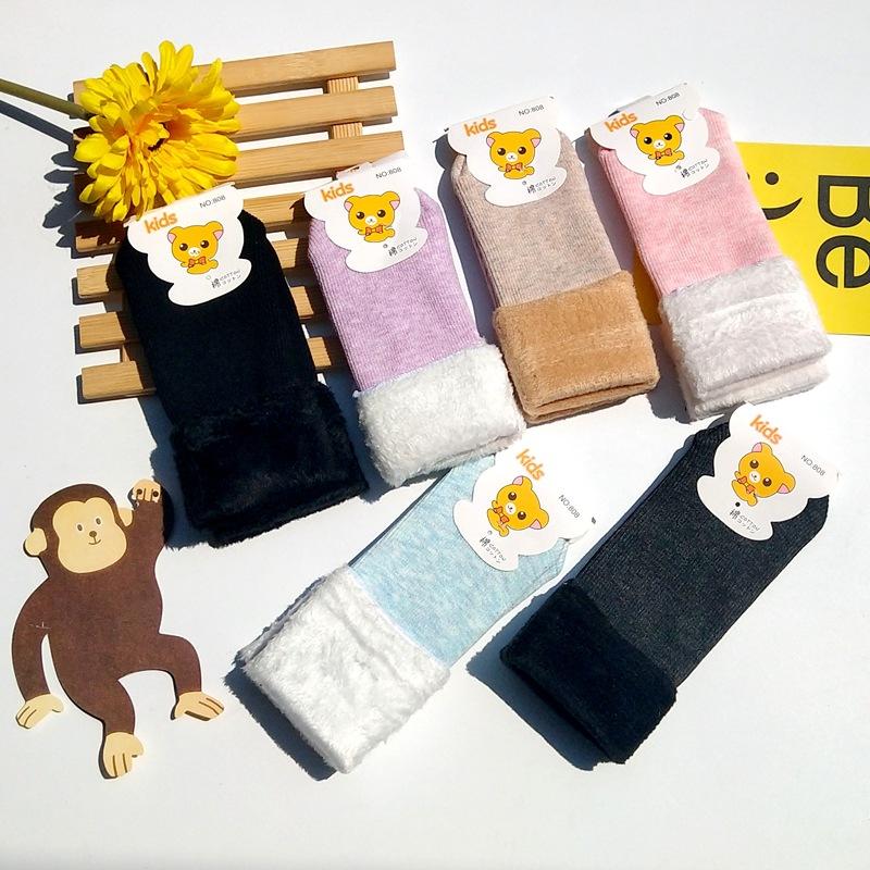 冬季儿童 加绒加厚 雪地袜子中筒地板袜子