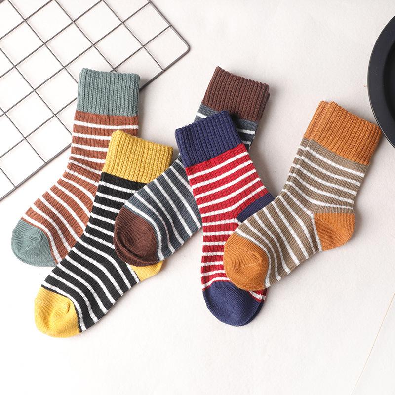秋冬 儿童男女童 条纹高罗口中筒棉袜子批发
