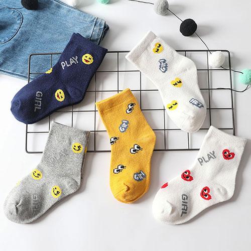 秋冬季 儿童可爱卡通表情符号 中筒棉袜子批发