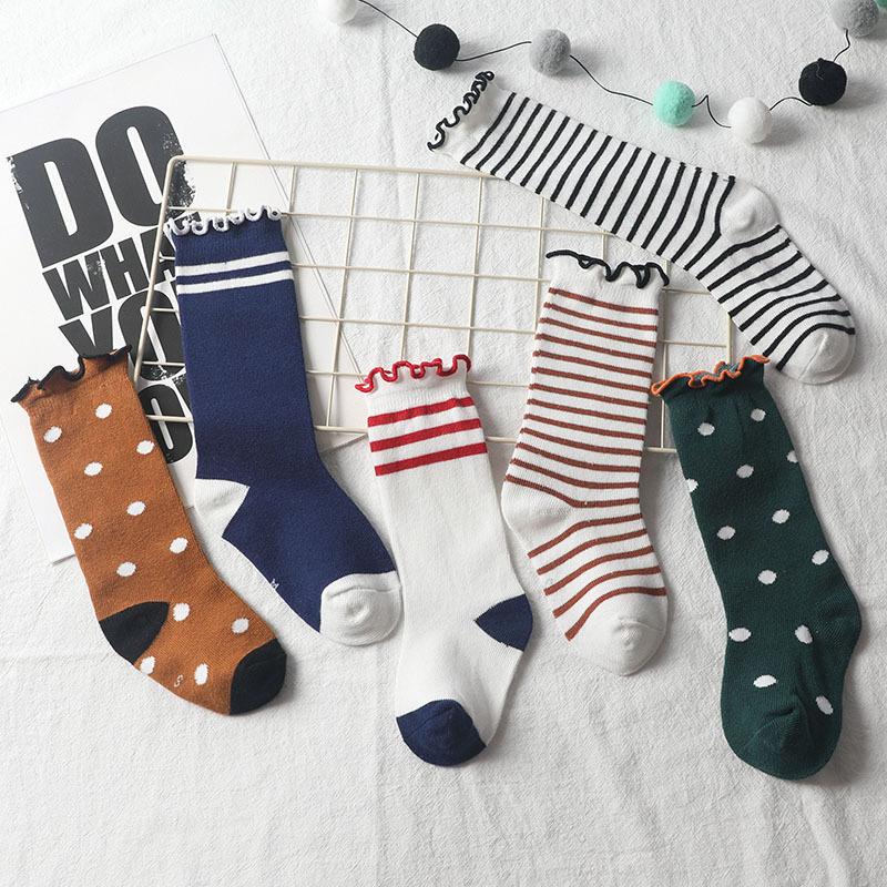 秋冬新款 大圆点条纹木耳边堆堆袜儿童棉袜子批发