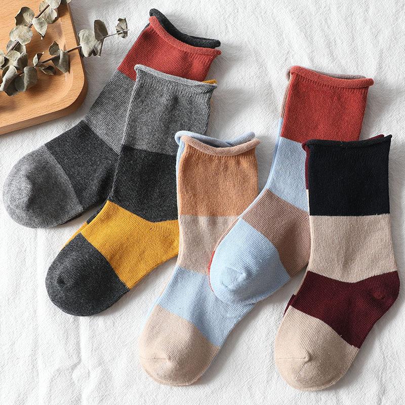 秋冬新款 儿童 拼色个性堆堆运动袜 高邦松口棉袜子