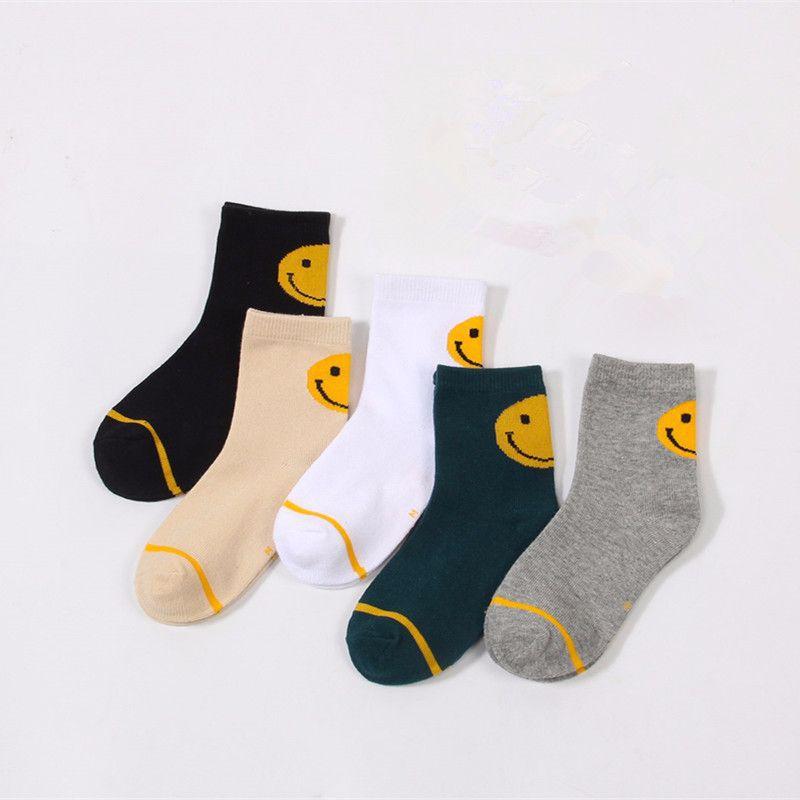 秋冬 儿童男女童后跟大笑脸中筒棉袜子