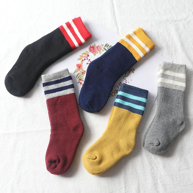 冬季儿童 加厚保暖 二杠条纹高筒毛圈袜子批发