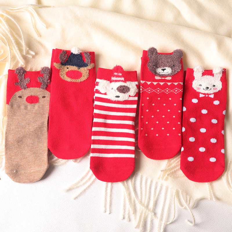 秋冬儿童袜子 男女童大红色喜庆中筒儿童袜子