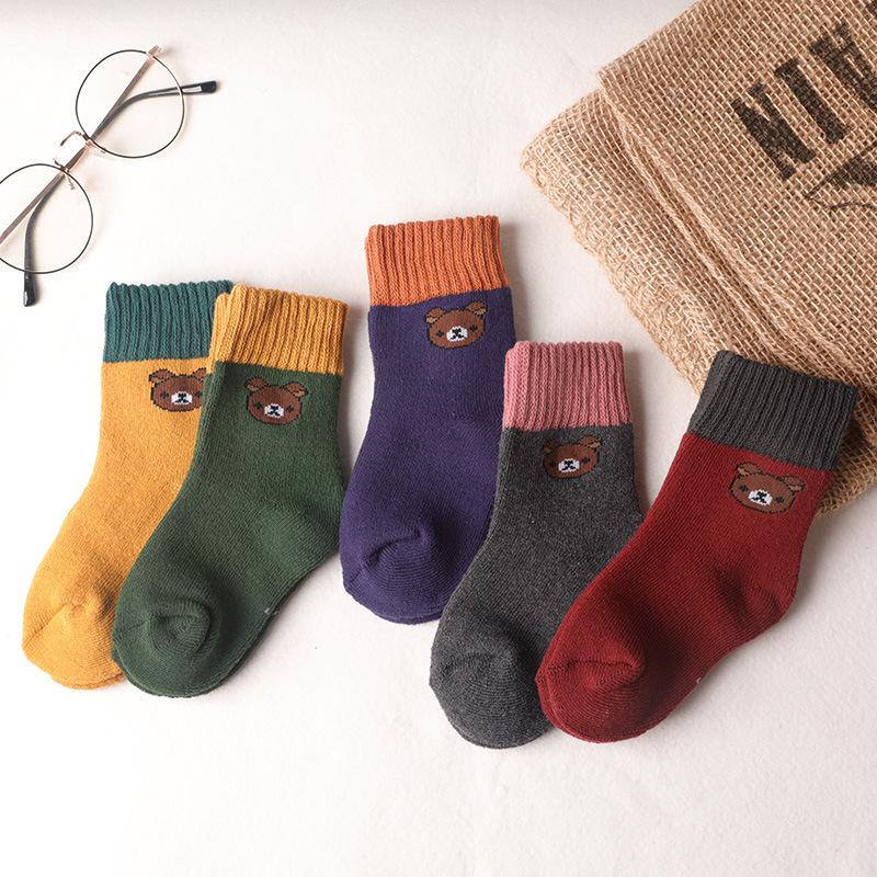 网红小熊袜子 冬季男女儿童 加厚保暖 卡通小熊中筒毛圈袜子