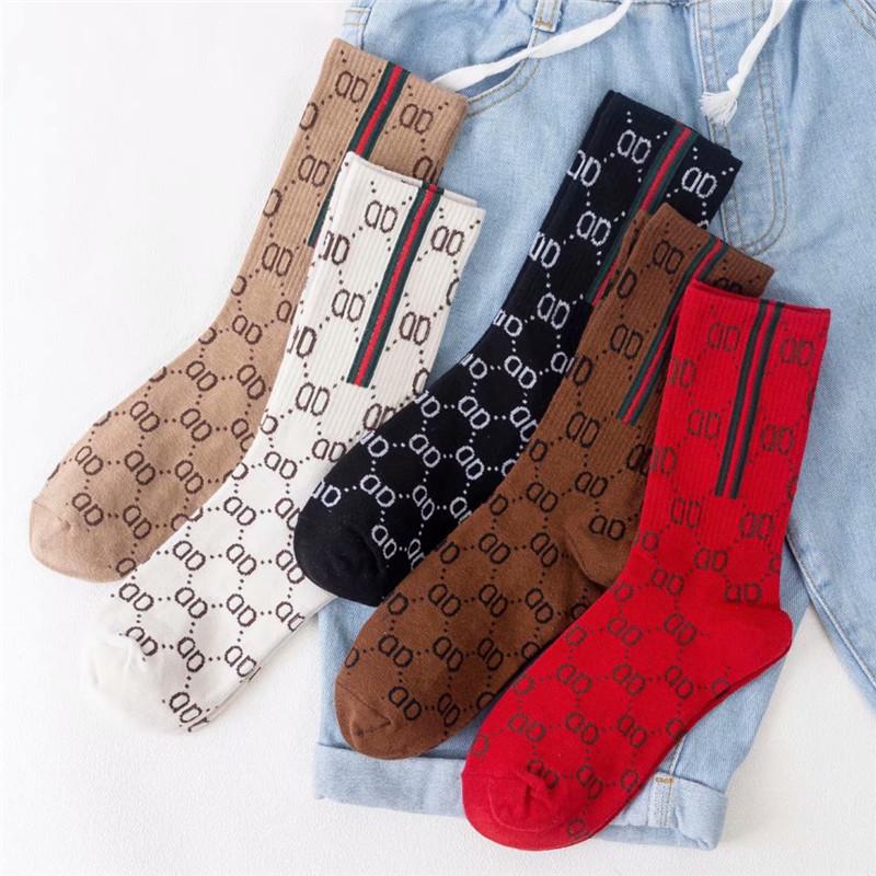 网红抖音同款复古欧美风字母全棉袜子 中高筒袜子