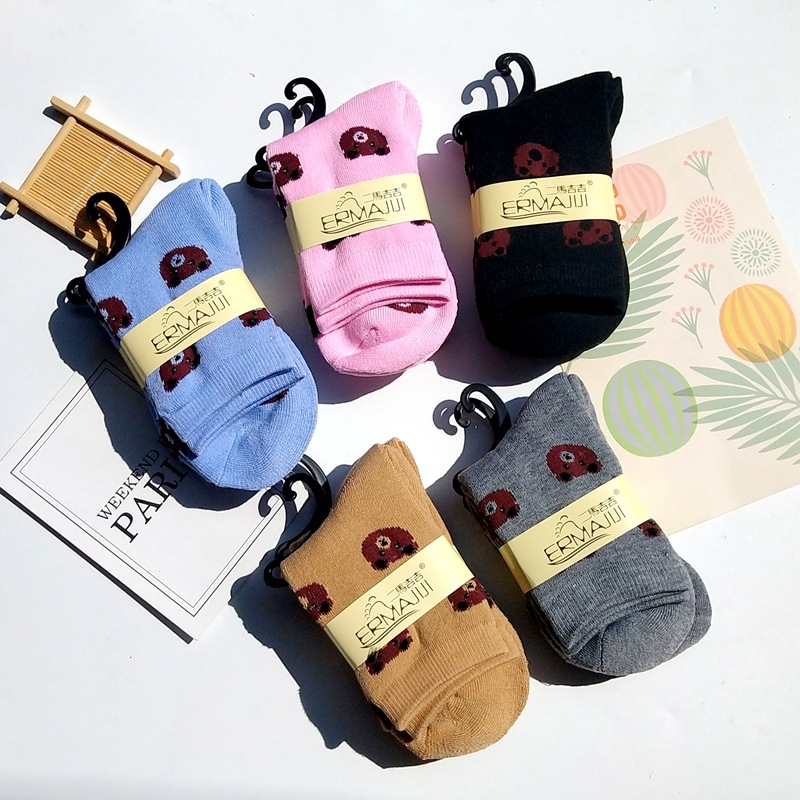 秋冬 女士加厚保暖 可爱卡通小熊中筒毛圈袜毛巾袜子