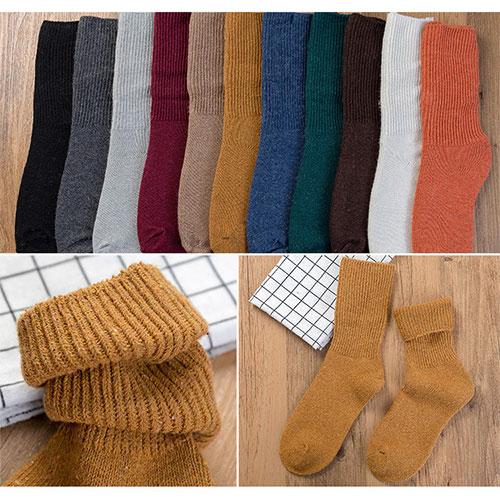 秋冬 女士糖果色加厚羊毛堆堆袜 中筒袜批发