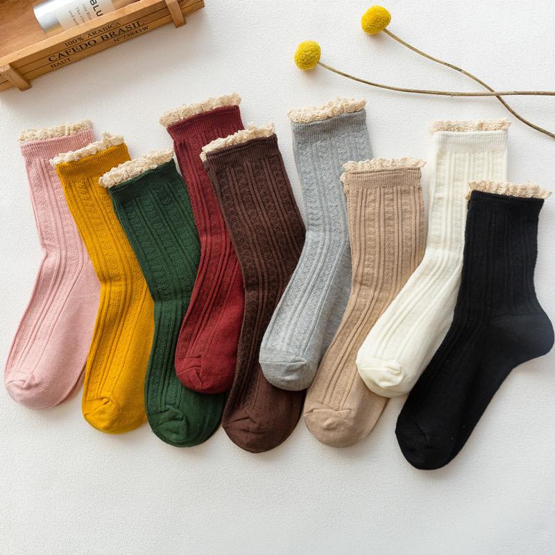 秋冬 女士时尚双针暗纹 花边堆堆袜中筒棉袜子