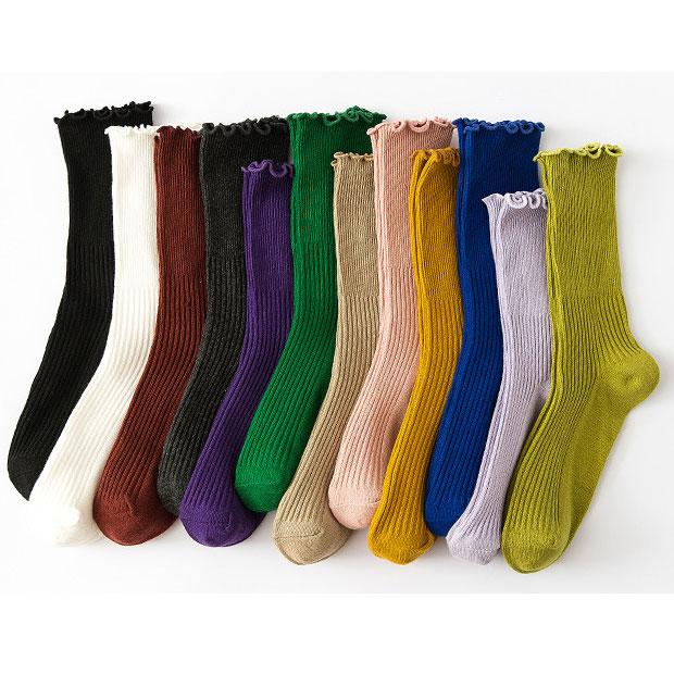 秋冬 女士双针木耳边 糖果色堆堆袜棉袜子