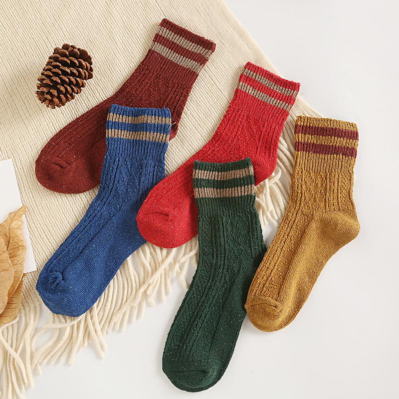 秋冬 女士双针粗线 加厚保暖中筒羊毛袜子