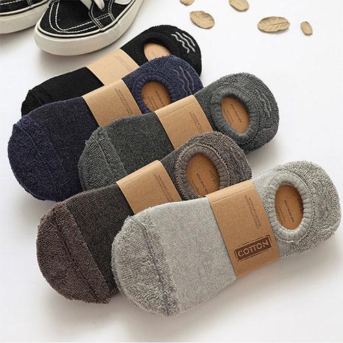 秋冬 男士毛圈加厚 硅胶防滑 毛巾底 隐形袜子
