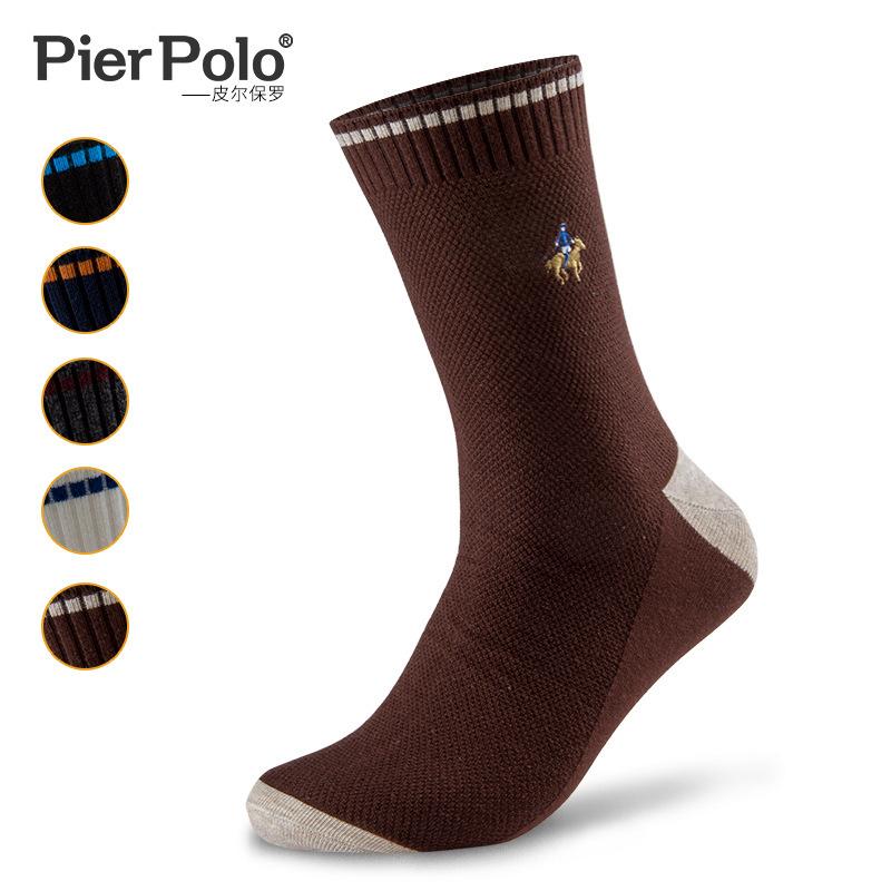 POLO秋冬 男士双针时尚撞色精梳棉中筒棉袜子