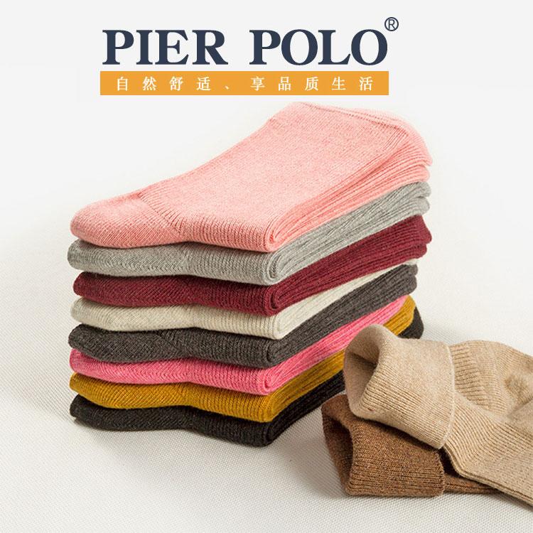 POLO精品 秋冬女士 双针精梳棉 百搭糖果色 中筒棉袜子批发