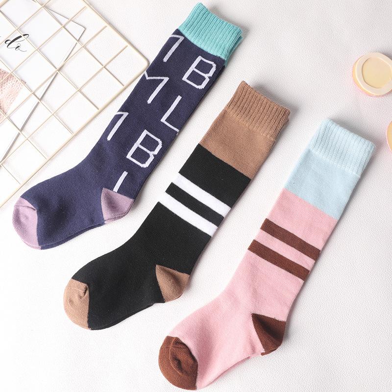 秋冬新款 儿童日系 英文条纹 小腿袜长筒袜批发