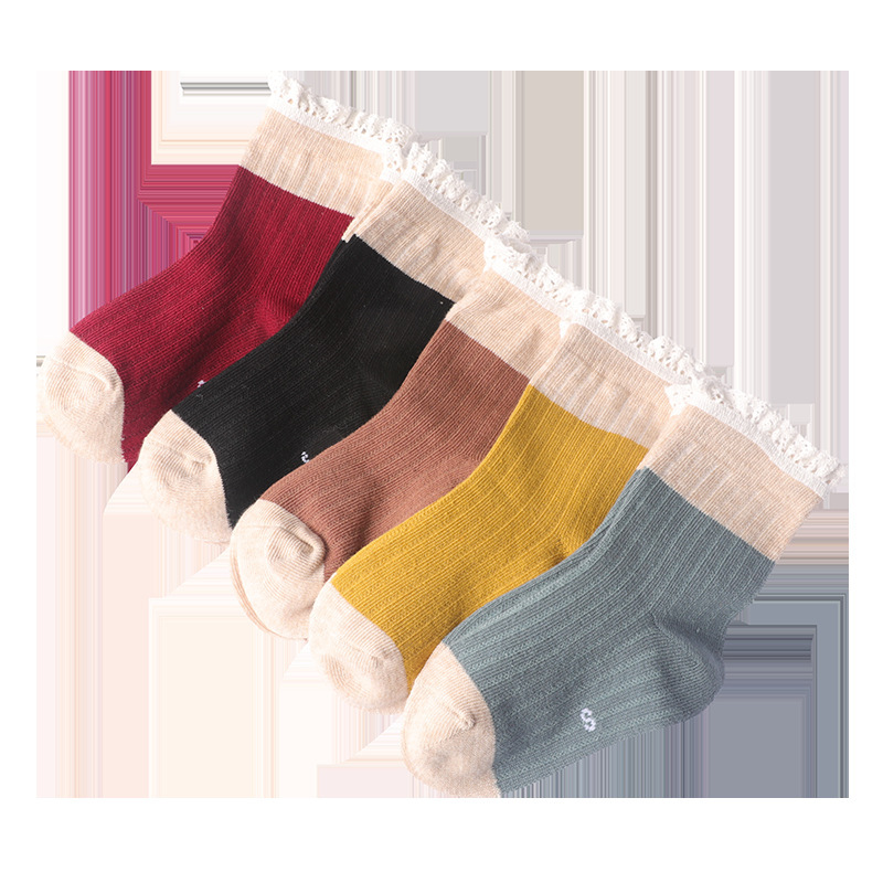 秋冬新款 女童女孩 蕾丝花边竖条 中筒棉袜子