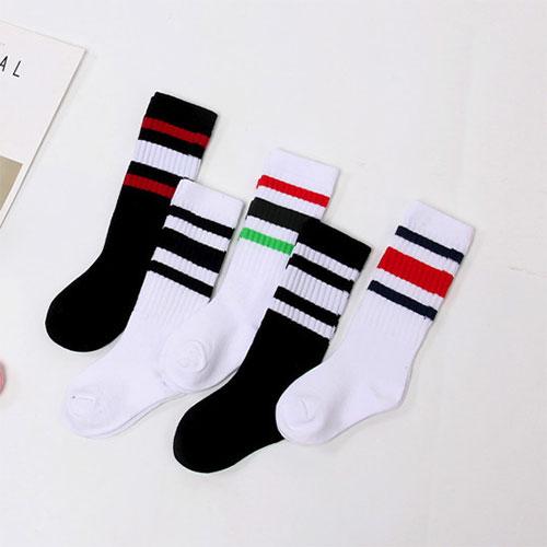 秋冬 儿童男女童 莱卡橡筋 条纹及膝袜小腿袜