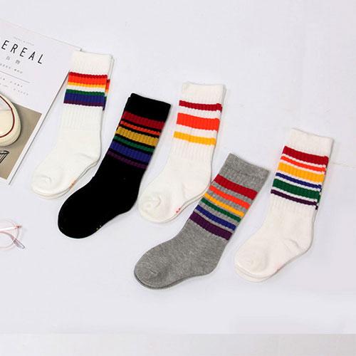秋冬 儿童男女童 莱卡橡筋 彩色条纹及膝袜小腿袜