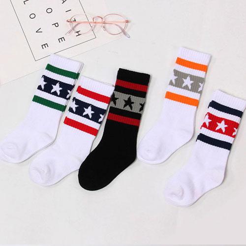 秋冬 儿童男女童 莱卡橡筋 星星条纹及膝袜小腿袜