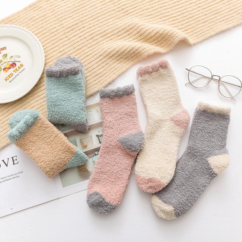 冬季 女士加厚睡眠珊瑚绒袜子 毛巾袜批发