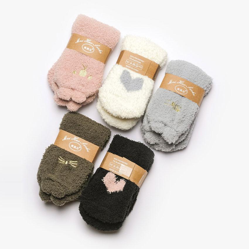 冬季 女士珊瑚绒 加厚保暖可爱卡通 睡眠袜家居袜子