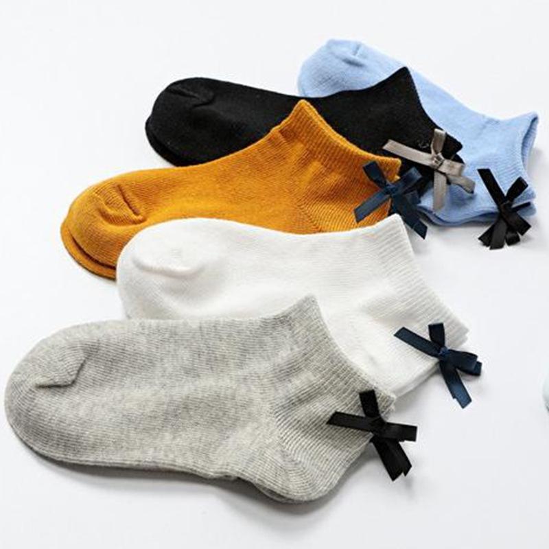 春夏女童棉袜子 甜美低帮后跟蝴蝶结儿童船袜子