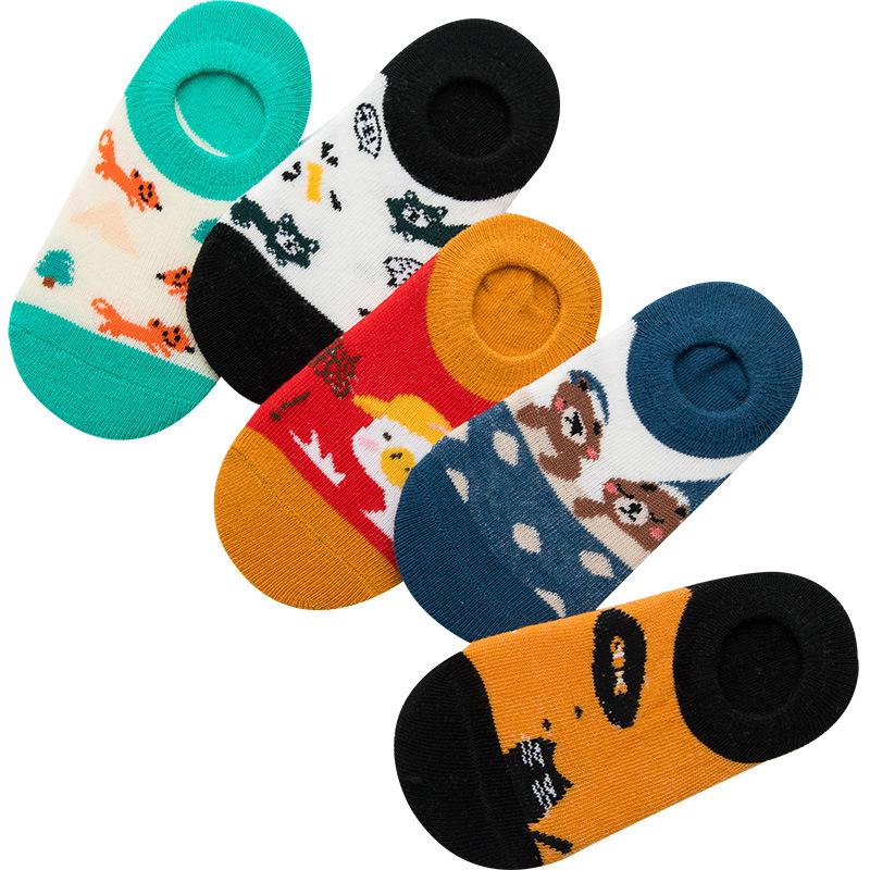 春夏儿童卡通棉袜子 动物卡通 透气防臭 大小童隐形船袜