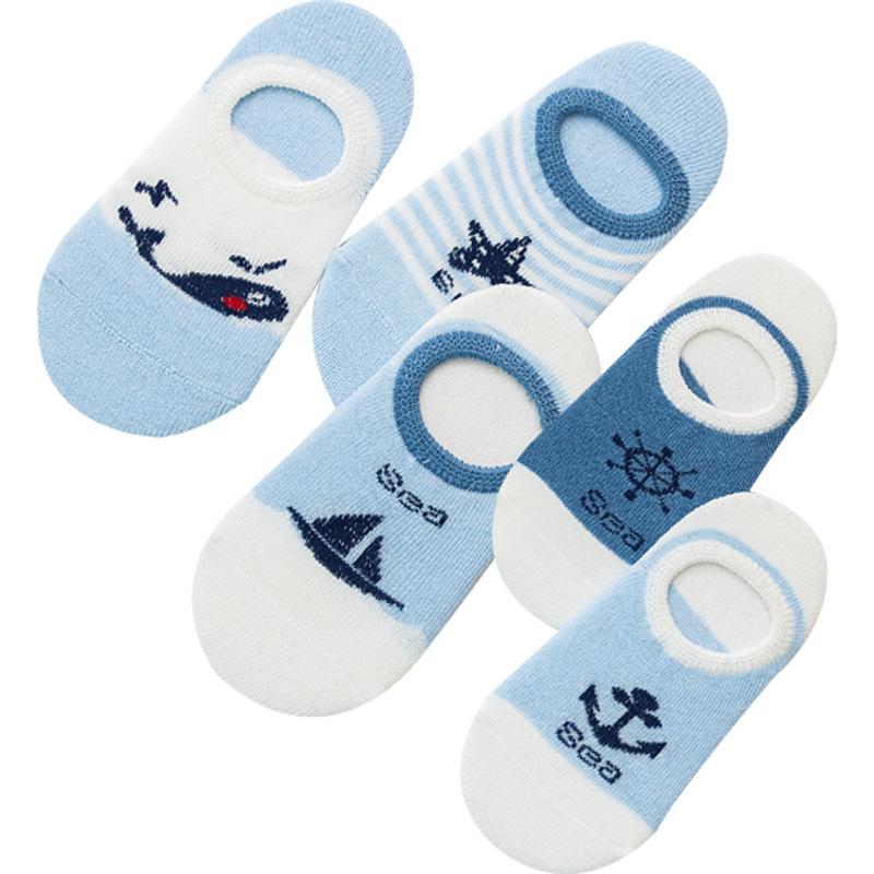 春夏薄款 儿童海洋风系列 透气隐形船袜子批发