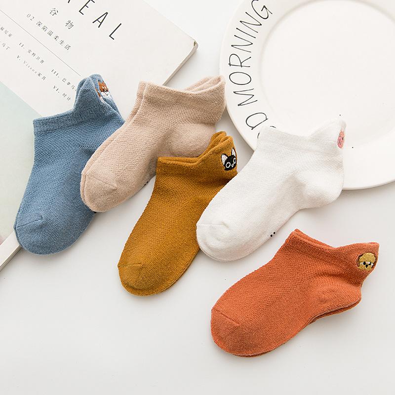 夏季新款 网眼后跟刺绣动物 卡通可爱儿童低邦船袜子