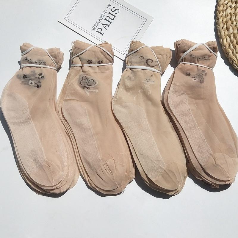 春夏季女款短丝袜薄有跟提花包芯丝中筒透气地摊袜子