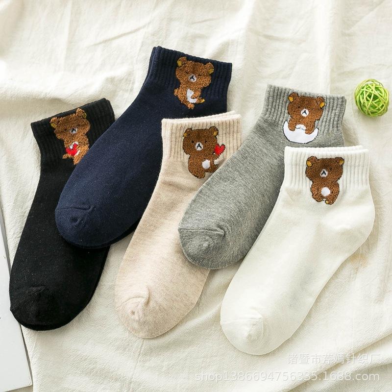 春夏 女士卡通可爱小熊 甜美百搭学生短袜子