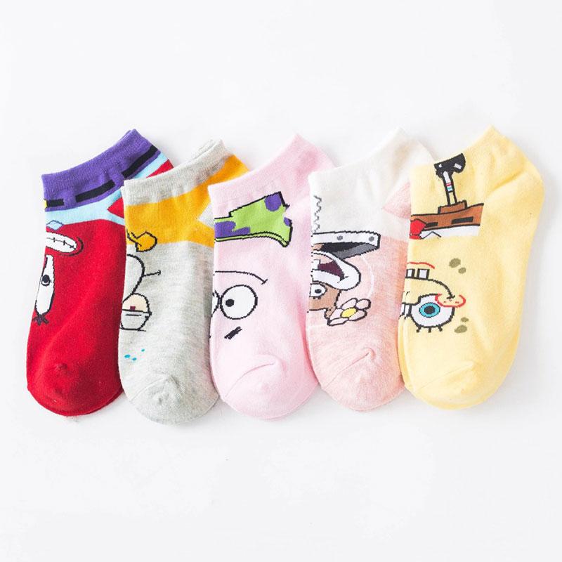春夏新款 女士卡通可爱 海绵宝宝 船袜子批发