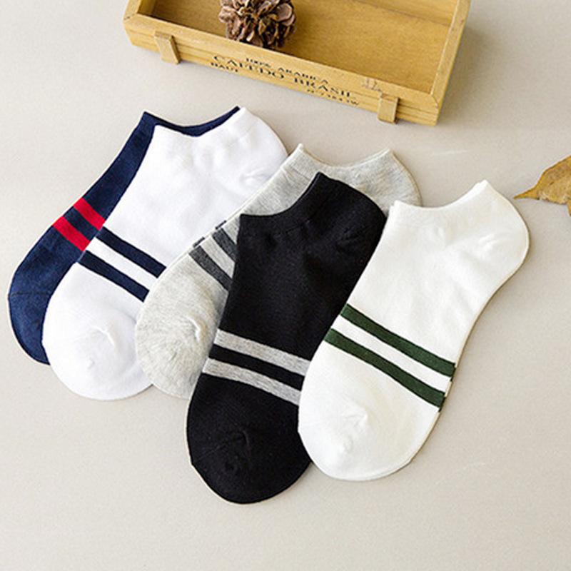 春夏季 男士低邦 条纹两条杠 纯棉运动船袜 厂家直销