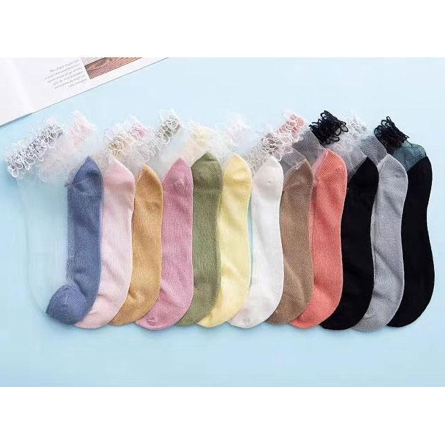 春夏新款 女士棉底透气 水晶丝短袜 大花边玻璃丝袜子