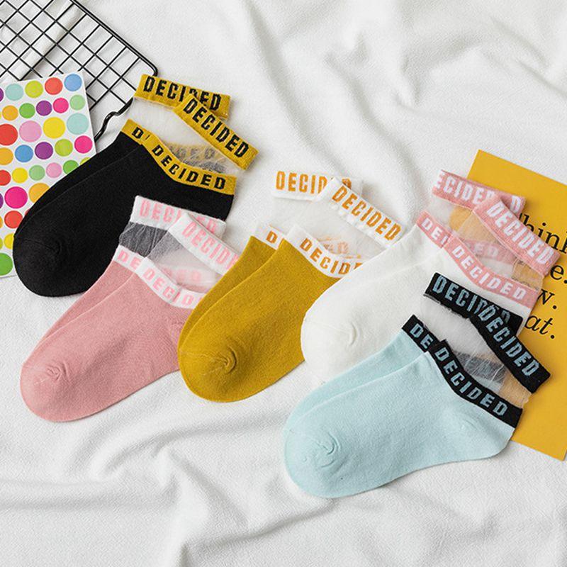 新款 女士字母 透气水晶丝 玻璃丝卡丝 薄棉袜子