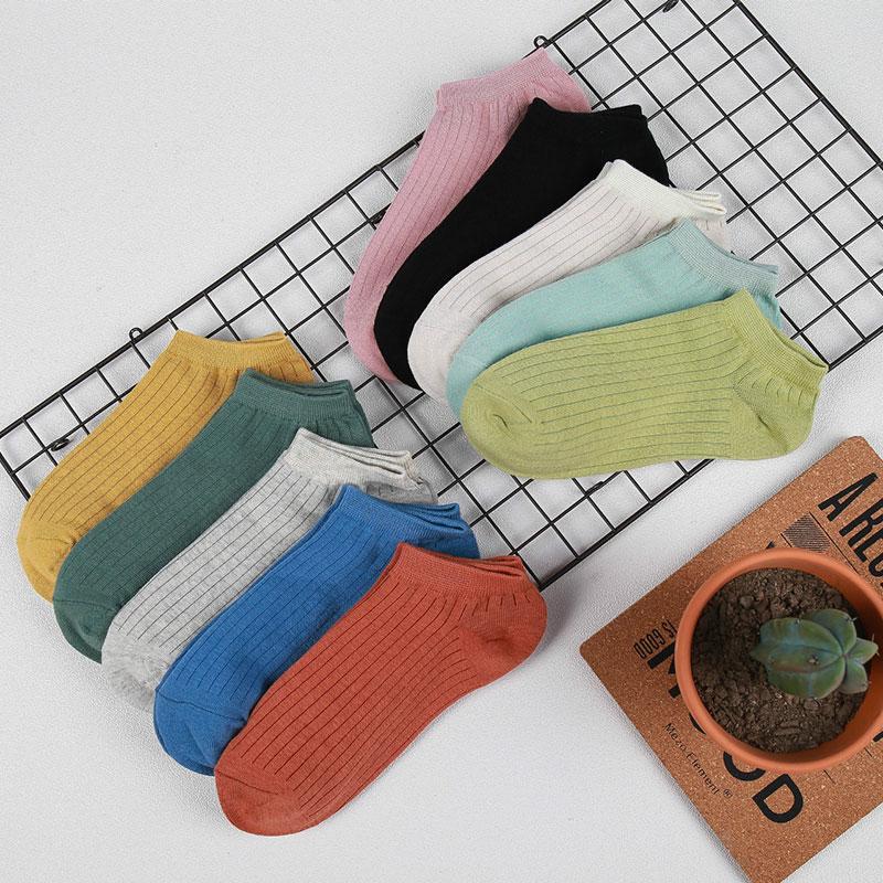 春夏 女士糖果色纯色 抽条双针低邦船袜子厂家批发