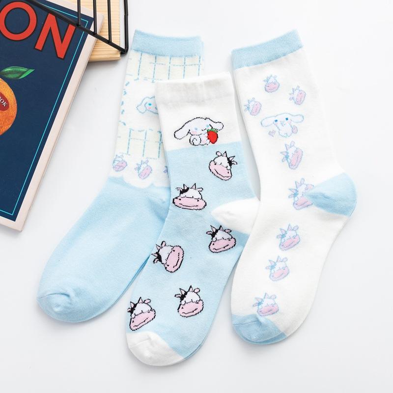 女士 可爱卡通狗系列 创意提花 中筒棉袜子