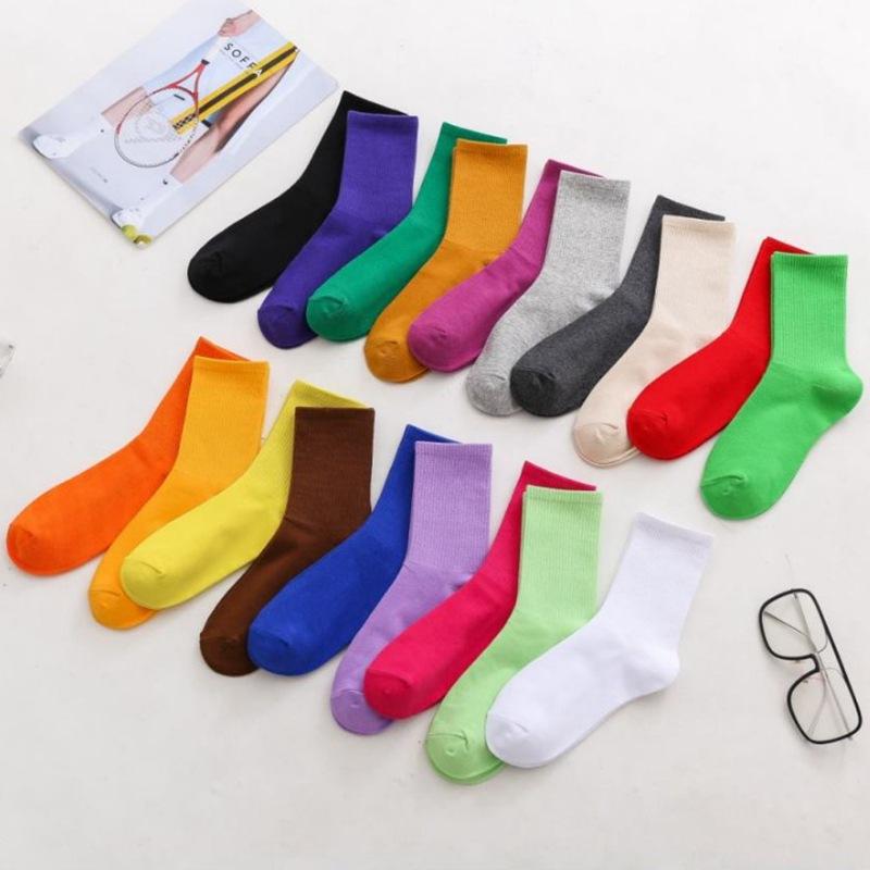 秋冬女士 潮流糖果色 高橡筋 透气 堆堆袜小腿袜子