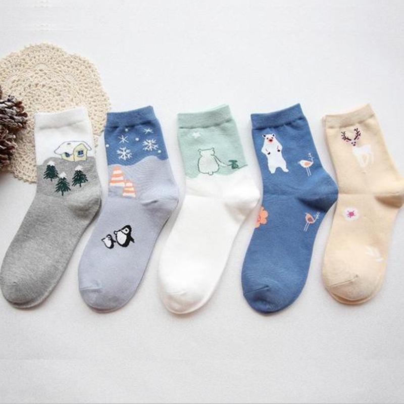 新款 小清新学生袜 卡通可爱中筒棉袜子批发