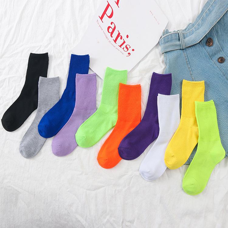 秋冬 女士纯色双针堆堆袜 糖果色抽条学院风中筒棉袜