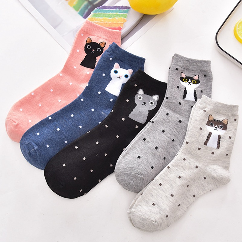 秋冬 女士猫咪卡通可爱 中筒棉袜子厂家批发
