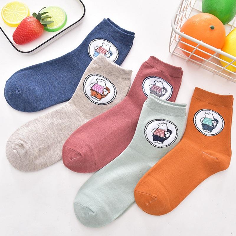 地摊货源袜子 女士卡通可爱小熊 ins潮网红 中筒棉袜子