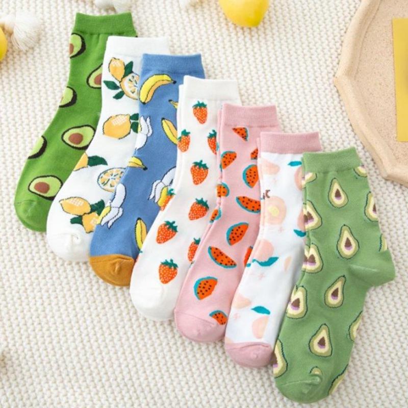 秋冬 女士牛油果草莓水果系列 学院风 中筒袜子