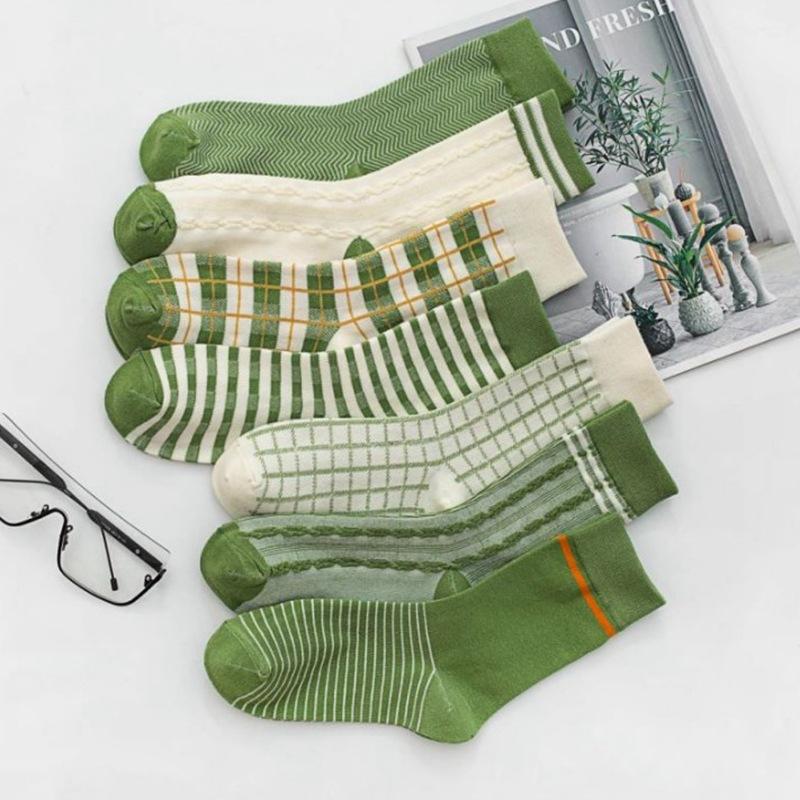 秋冬新款 女士小清新绿格子 日系少女学院风长筒棉袜子